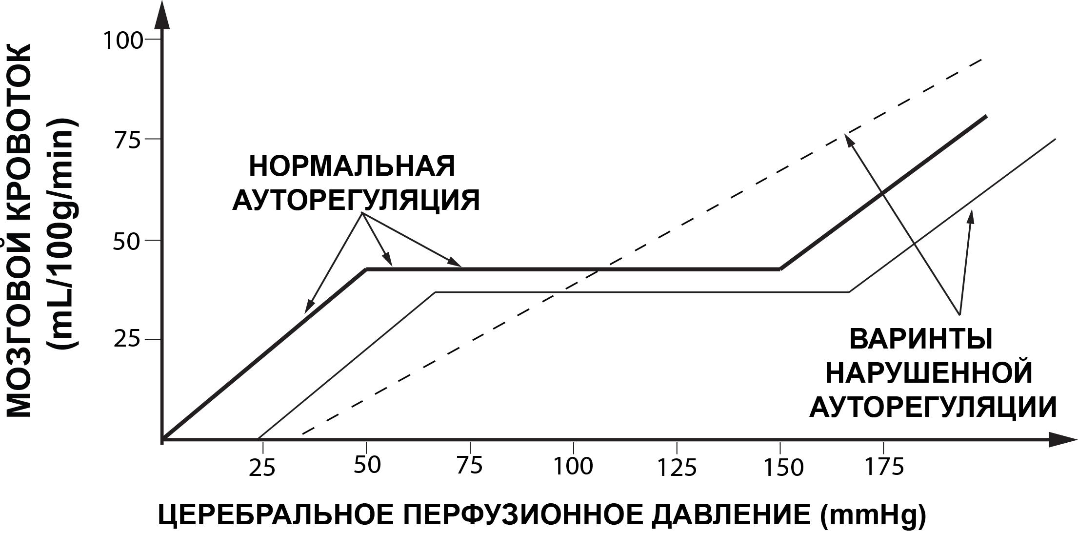 Рис. 1  Варианты нормальной и нарушенной ауторегуляции мозговых сосудов